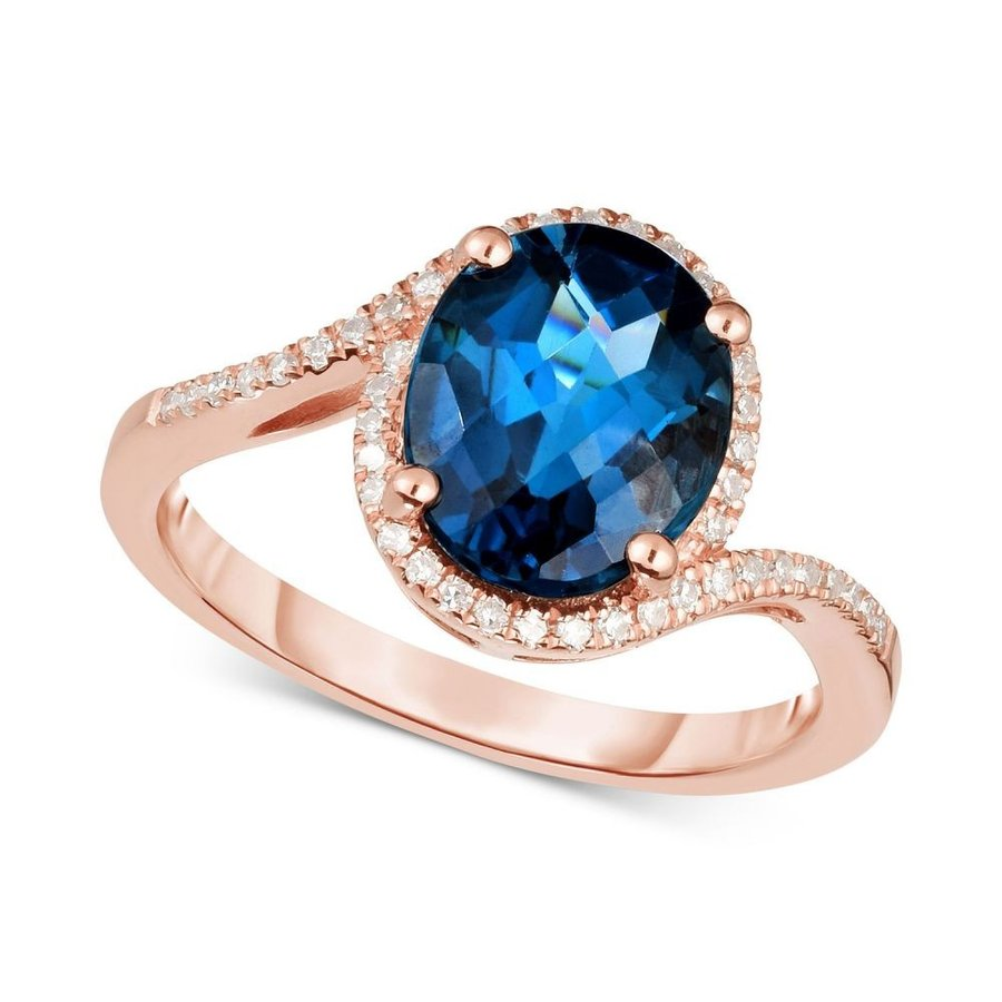 新発売の メイシーズ Macy's ユニセックス 指輪・リング London Blue Topaz (3 ct. t.w.) & Diamond (1/6 ct. t.w.) Ring in 14k Rose Gold London Blue Topaz, Lエル f9c1cfd4