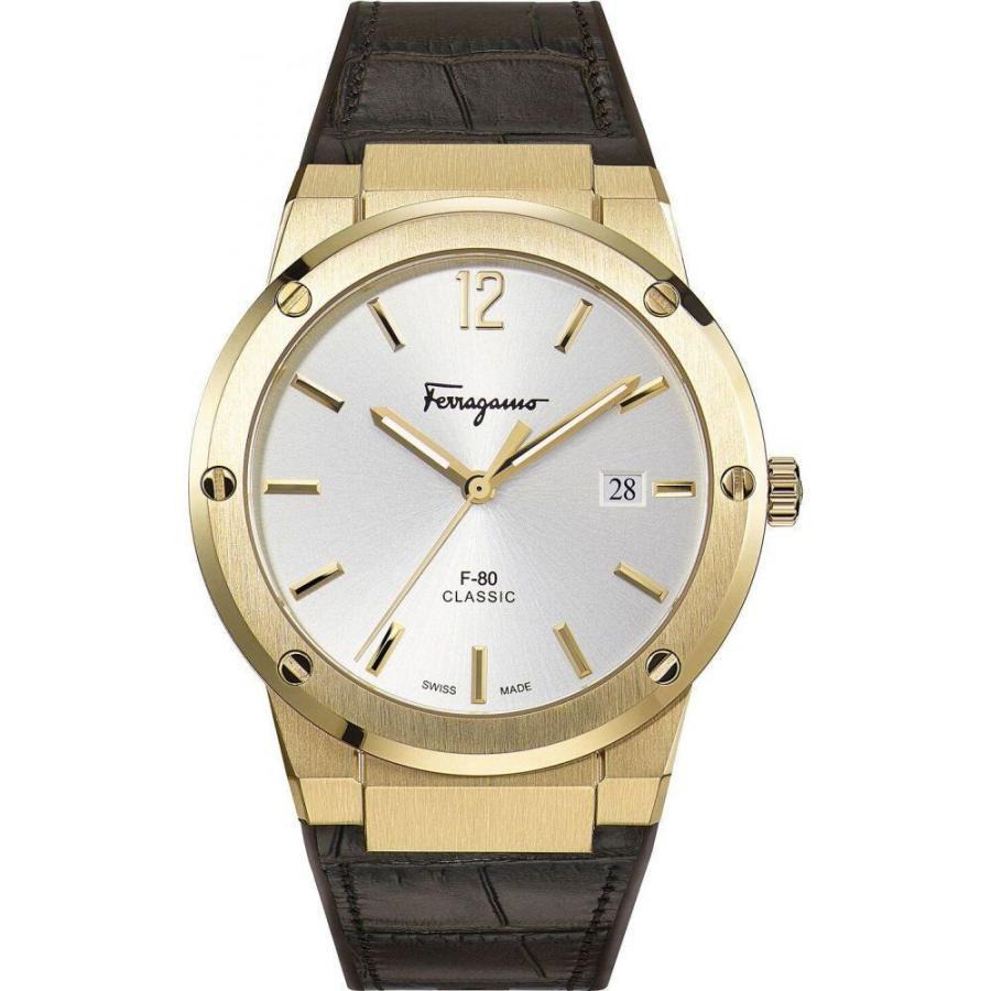 高い素材 フェラガモ Watch Ferragamo Brown メンズ Strap 腕時計 Swiss F-80 Brown Leather Strap Watch 41mm Brown, アルファスペース:16e7efb6 --- airmodconsu.dominiotemporario.com