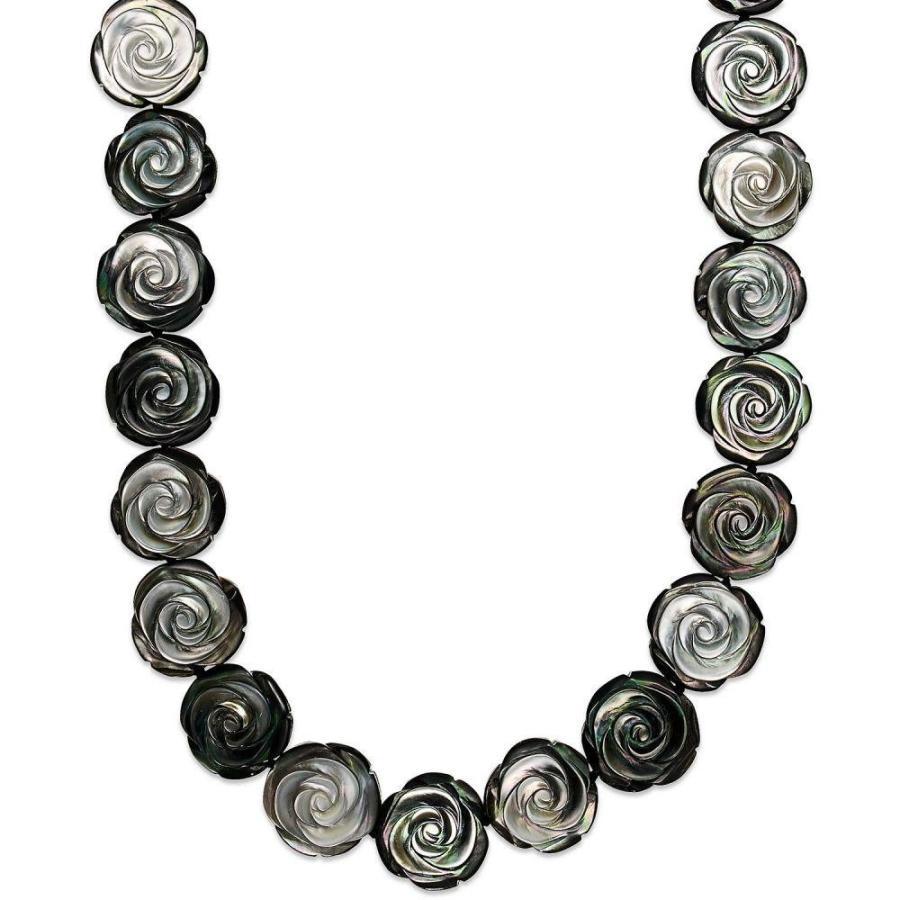 本物品質の メイシーズ Macy's ユニセックス ネックレス Sterling Silver Necklace, Cultured Tahitian Mother of Pearl Flower Necklace No Color, 出島書店 6b583493
