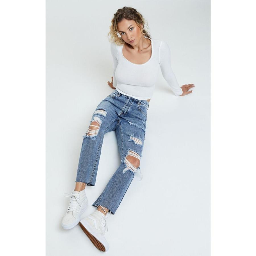 男女兼用 パクサン PacSun レディース ジーンズ・デニム ボトムス・パンツ Aries Blue High Waisted Straight Leg Jeans MEDIUM INDIGO, ヤマノウチマチ b27b5ff4