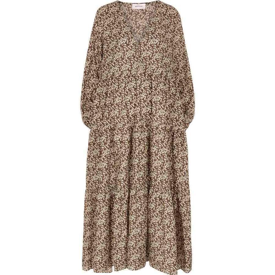 マトー Matteau レディース ビーチウェア ティアードドレス 水着·ビーチウェア The Long Sleeve Tiered Floral-Print Cotton Maxi Dress Brown