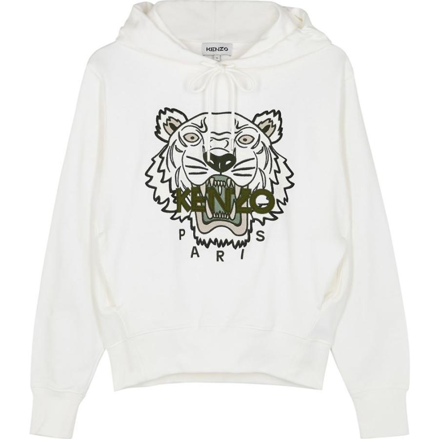 ケンゾー Kenzo レディース スウェット·トレーナー トップス White Tiger-Embroidered Cotton Sweatshirt White