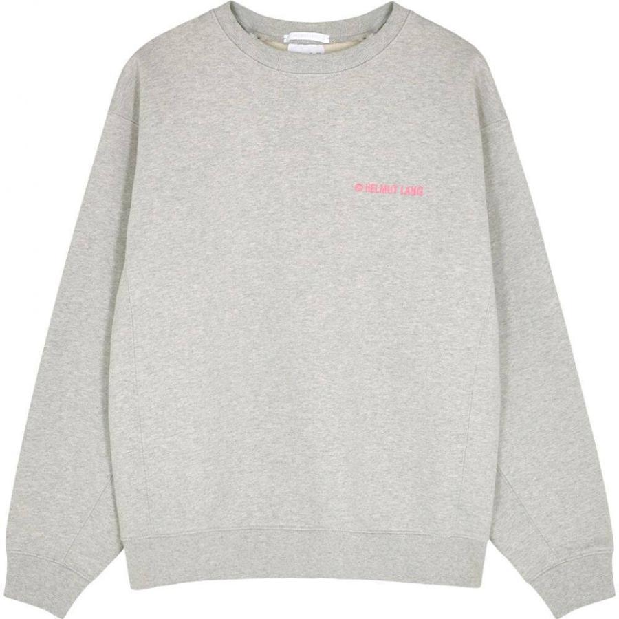 ヘルムート ラング Helmut Lang レディース スウェット·トレーナー トップス grey logo-embroidered cotton sweatshirt Grey