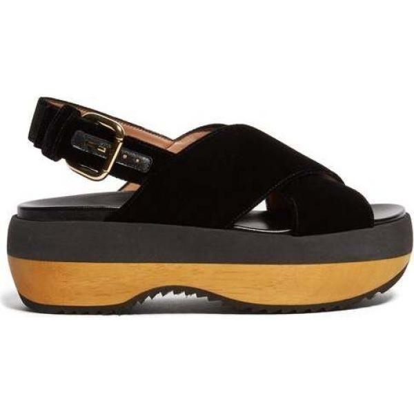 【中古】 マルニ Marni レディース サンダル・ミュール sandals シューズ レディース・靴 Cross-strap velvet Marni flatform sandals Black, 【公式】:691b028b --- lighthousesounds.com