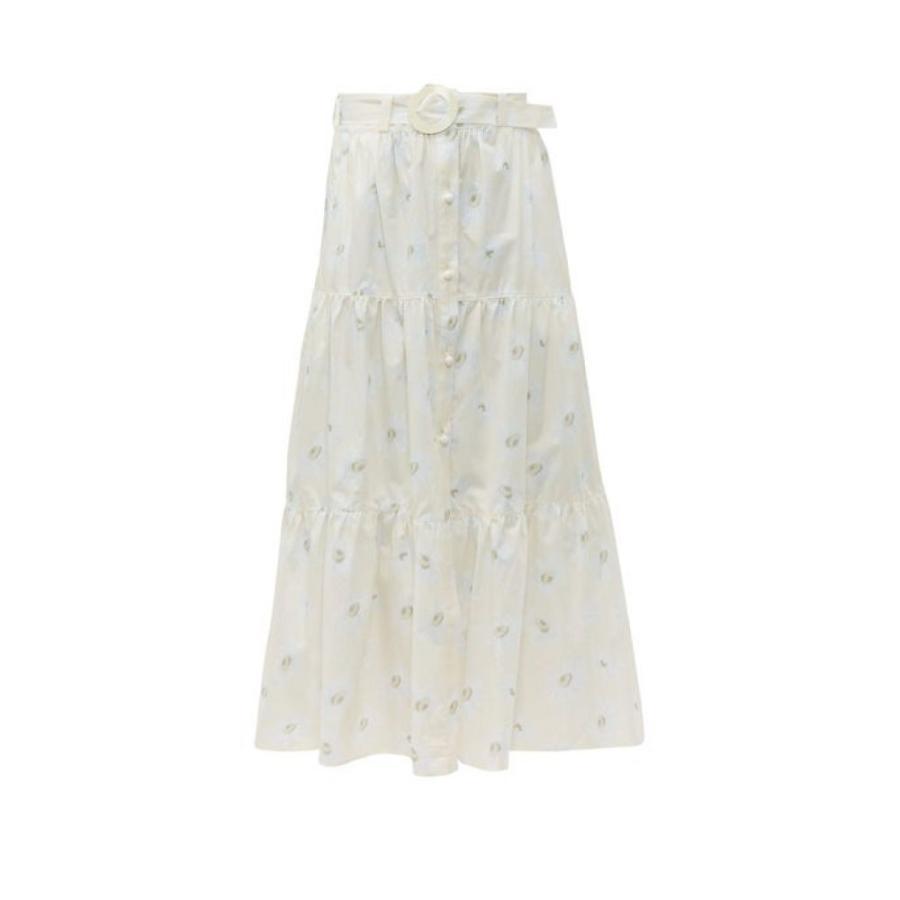 ソリッド&ストライプ Solid & Striped レディース ビーチウェア 水着・ビーチウェア Daisy-print belted cotton skirt ivory
