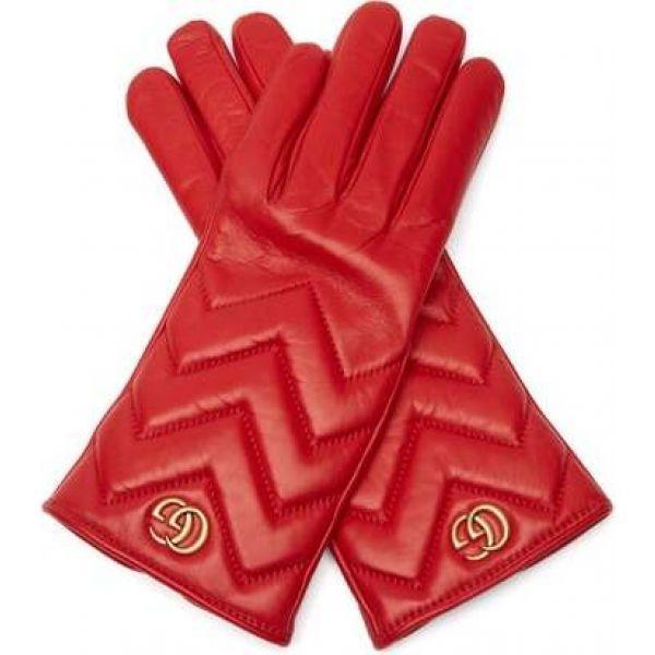 グッチ Gucci レディース 手袋·グローブ GG Marmont chevron-quilted leather gloves Red