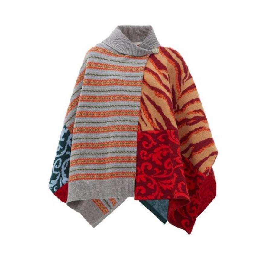 ステラ マッカートニー Stella McCartney レディース ポンチョ アウター patchwork-knitted wool poncho Multicoloured