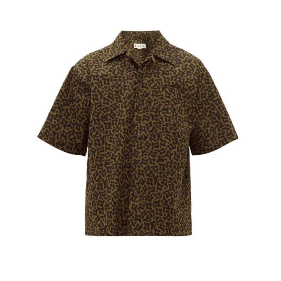 本物保証!  マルニ Marni メンズ トップス 半袖シャツ トップス Cell-print cotton blend-twill blend-twill メンズ shirt Khaki green, 【ポイント10倍】:224c7db5 --- grafis.com.tr