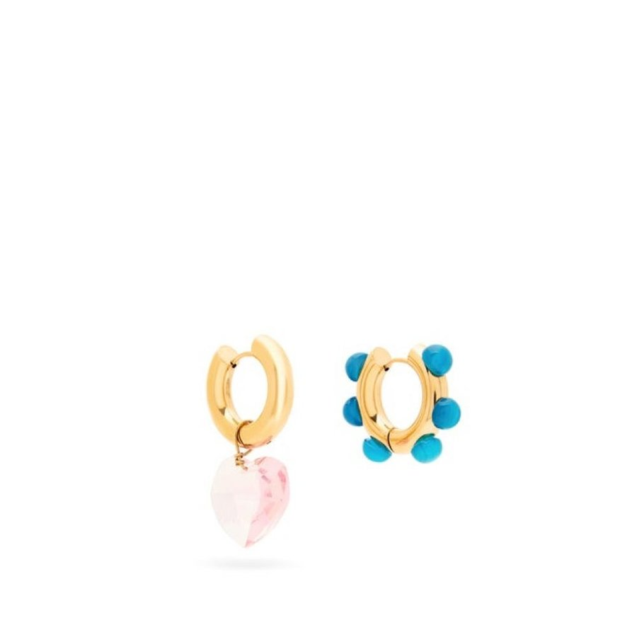 最新情報 タイムレス パーリー Timeless Pearly レディース イヤリング・ピアス and ジュエリー パーリー・アクセサリー earrings Mismatched quartz and jasper hoop earrings Pink, GINZA LoveLove(銀座ラブラブ):1e769fdd --- airmodconsu.dominiotemporario.com