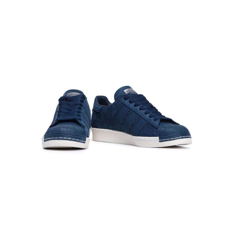 ベストセラー アディダス ADIDAS ORIGINALS レディース スニーカー シューズ・靴 Superstar 80s textured-nubuck sneakers Navy, ミーナ b2c6979d