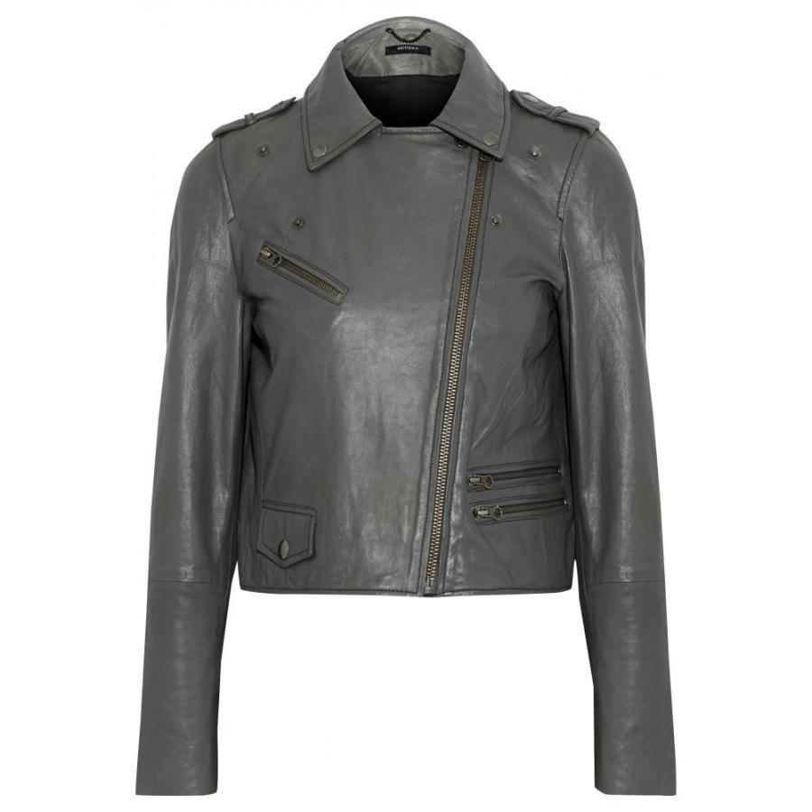 ムーバー MUUBAA レディース レザージャケット アウター Columba leather biker jacket Gray