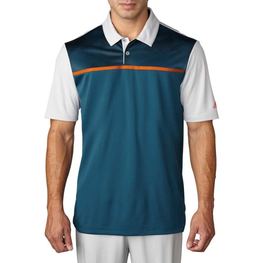 アディダス adidas メンズ ゴルフ ポロシャツ トップス climacool blocked print golf polo Utility 緑