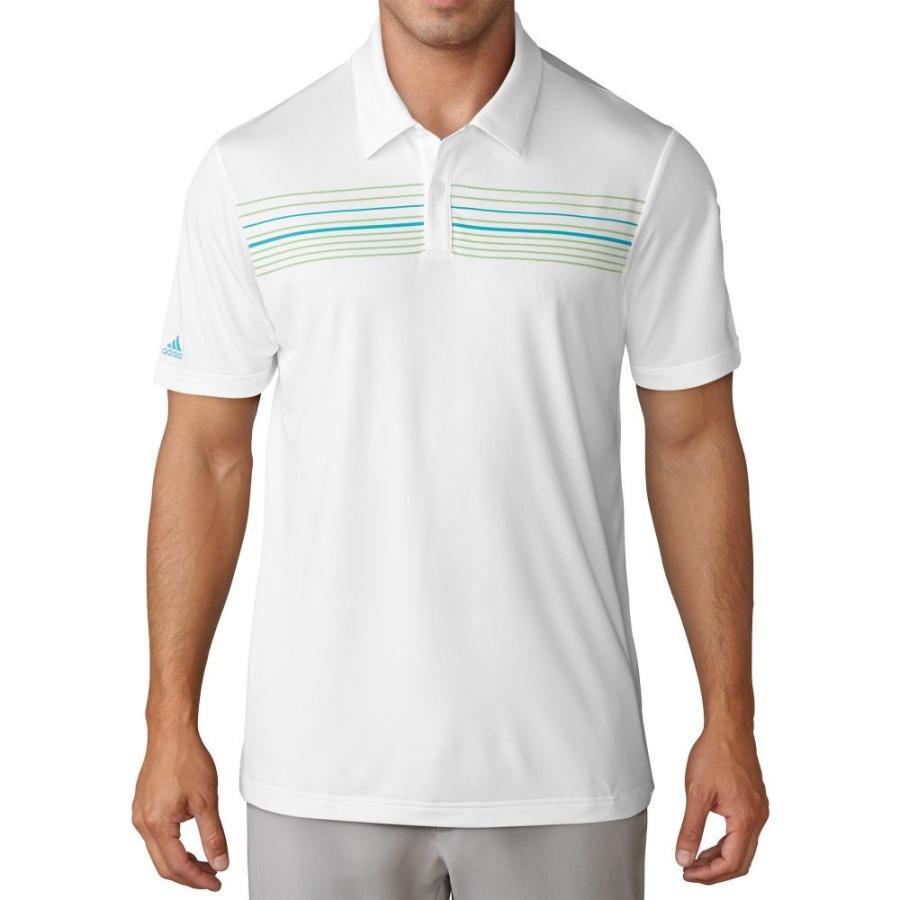 アディダス adidas メンズ ゴルフ ポロシャツ トップス climacool chest print golf polo 白い/Energy 青