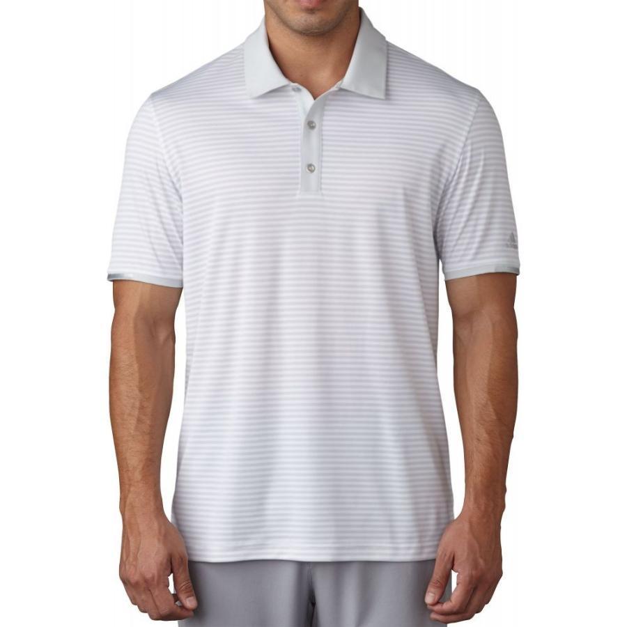 アディダス adidas メンズ ゴルフ ポロシャツ トップス climachill tonal stripe golf polo Clear グレー