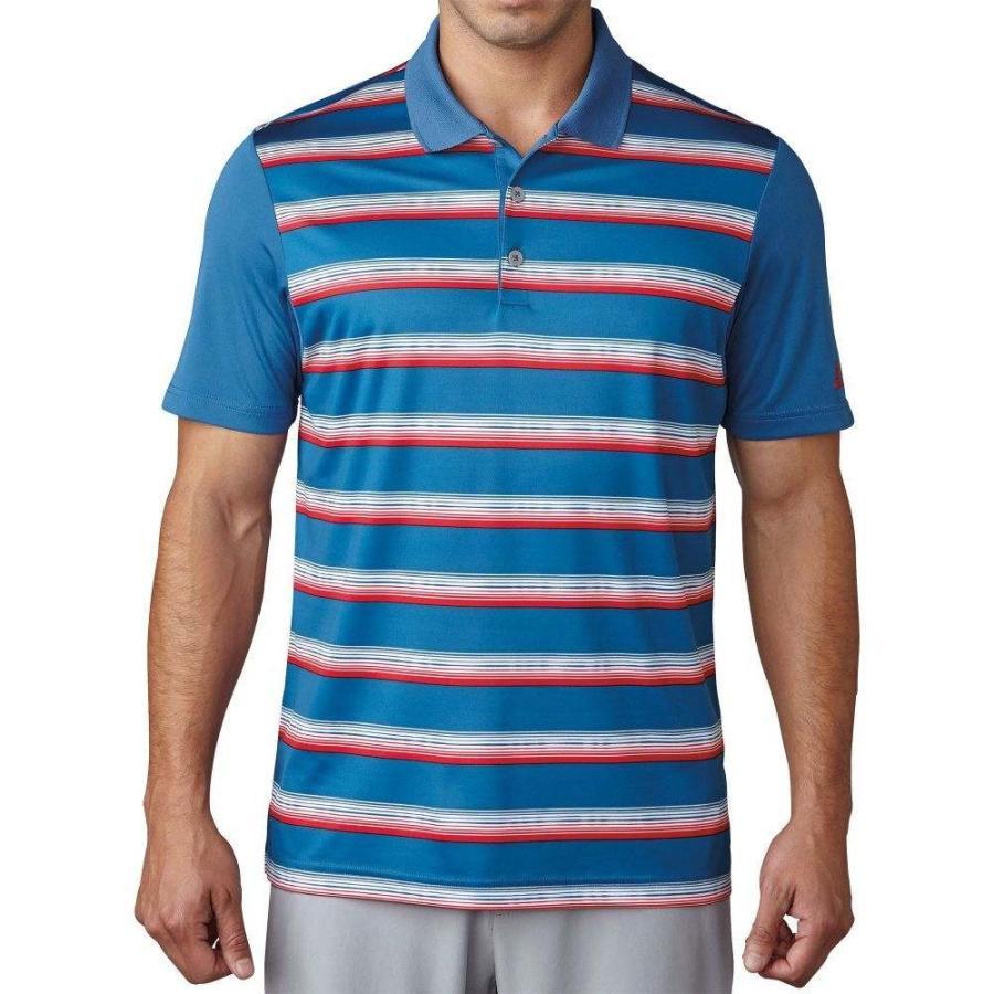 アディダス adidas メンズ ゴルフ ポロシャツ トップス advantage stripe golf polo Core Blue