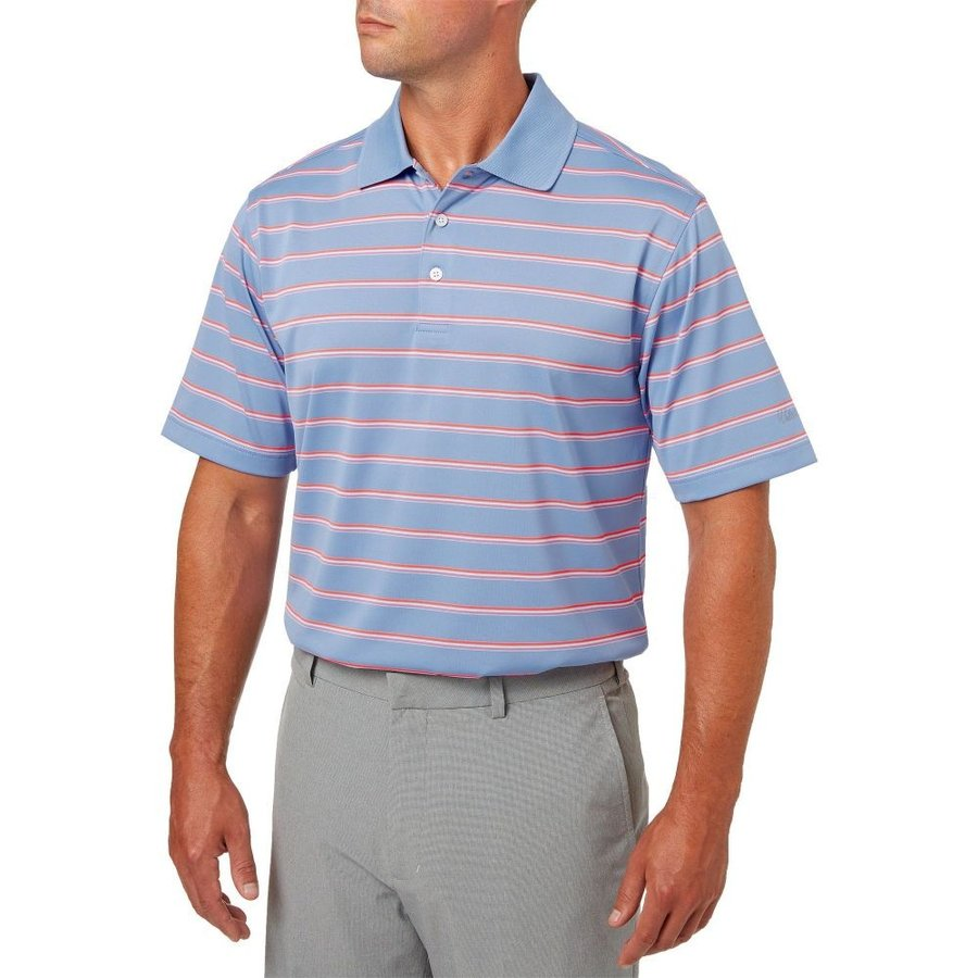 ウォルターヘーゲン Walter Hagen メンズ ゴルフ ポロシャツ トップス essentials wide stripe golf polo Periwinkle