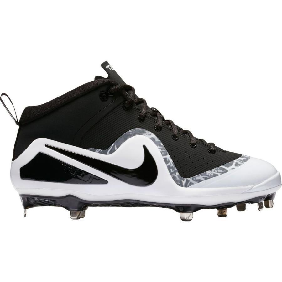 ナイキ Nike メンズ シューズ・靴 野球 Force Zoom Trout 4 Mid Metal Baseball Cleats 黒/白い