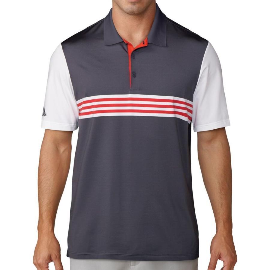 アディダス adidas メンズ ゴルフ ポロシャツ トップス ultimate365 enginee赤 3 stripe golf polo Trace 紫の/白い