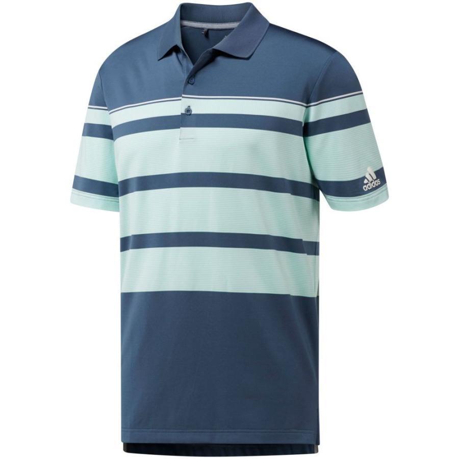 アディダス adidas メンズ ゴルフ ポロシャツ トップス ultimate365 wraparound stripe golf polo Tech Ink/Clear Mint/白い
