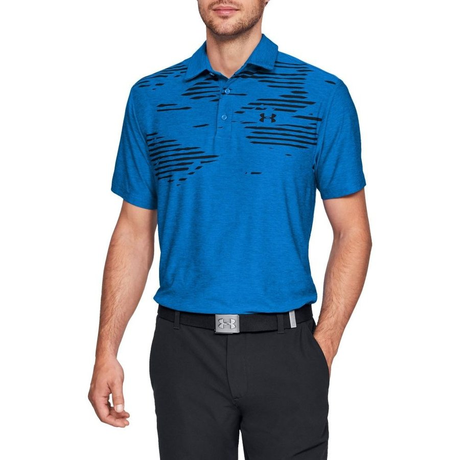 アンダーアーマー Under Armour メンズ ゴルフ ポロシャツ トップス screen print golf polo 青 Circuit