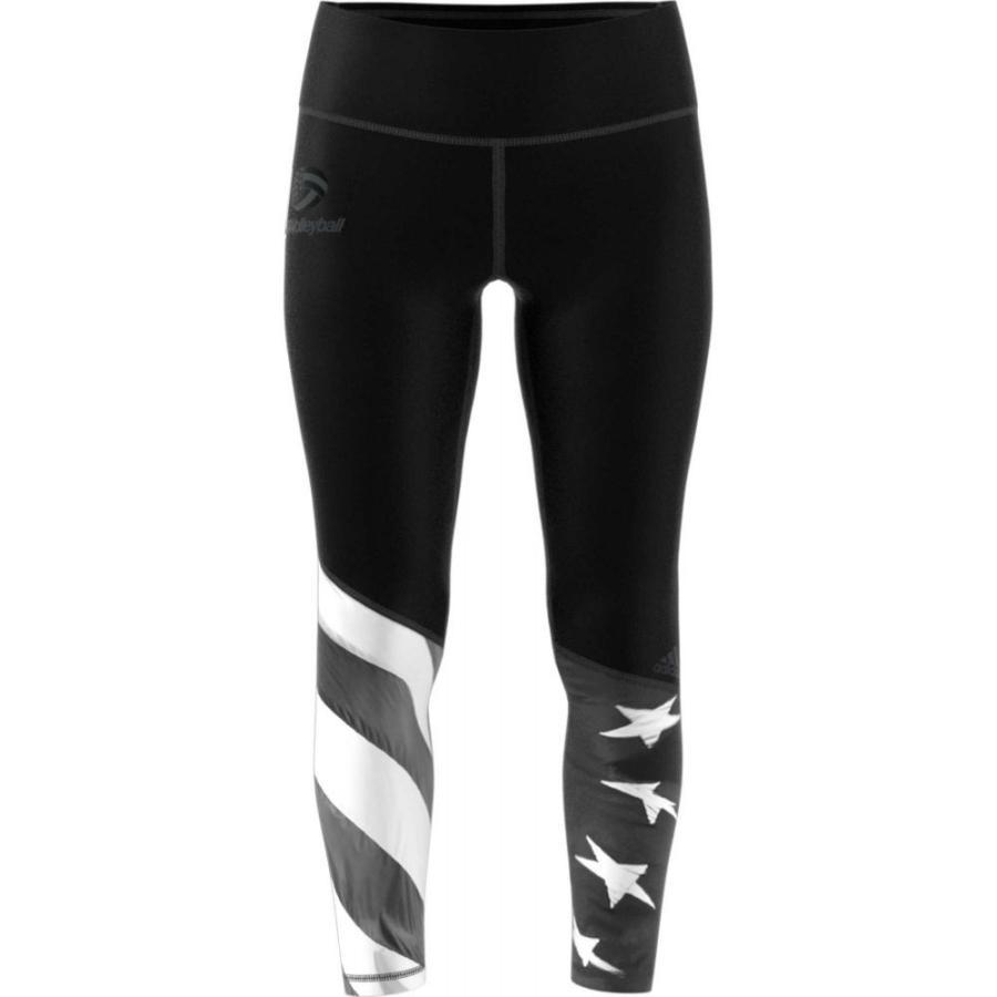 アディダス adidas レディース バレーボール スパッツ・レギンス ボトムス・パンツ usa volleyball tights 黒/白い