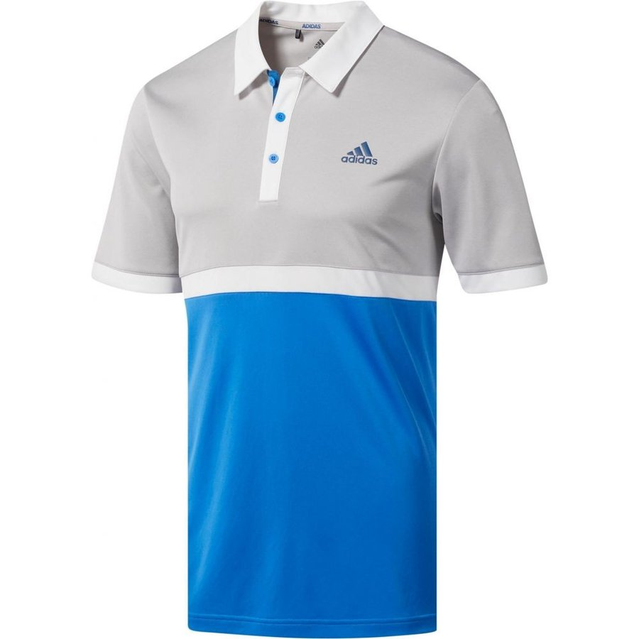 アディダス adidas メンズ ゴルフ ポロシャツ トップス drive heather colorblock golf polo グレー Two Heather/True 青