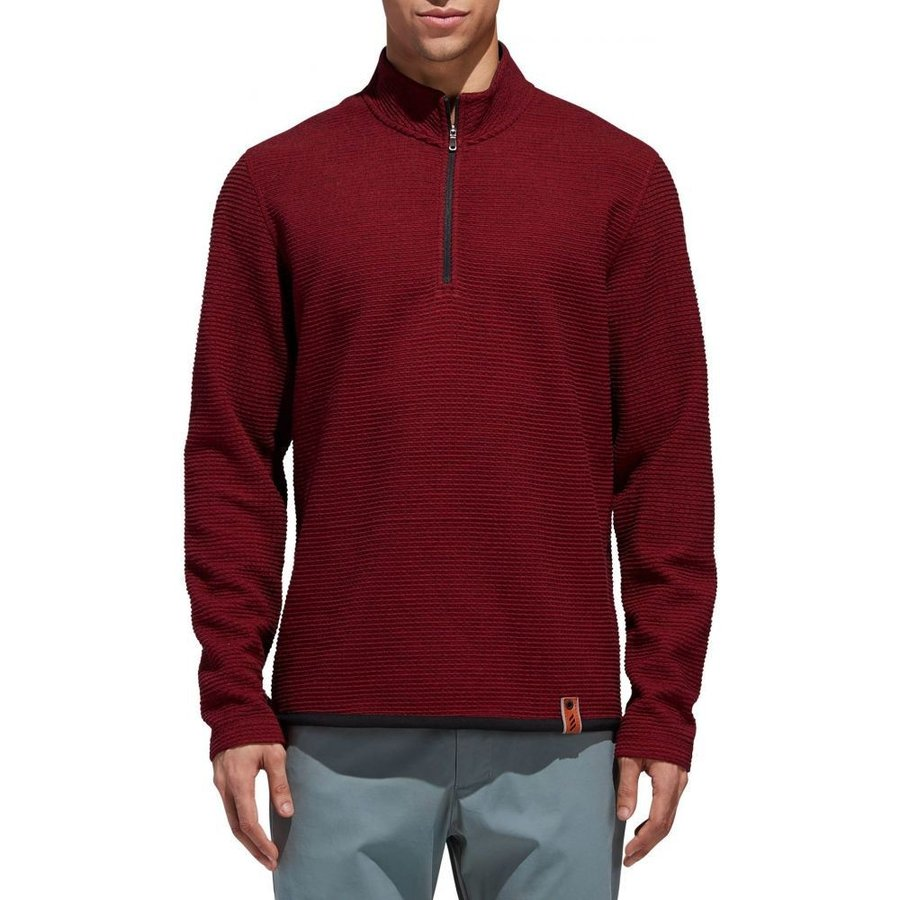 アディダス adidas メンズ ゴルフ トップス adicross textu赤 fleece golf zip Collegiate Burgundy