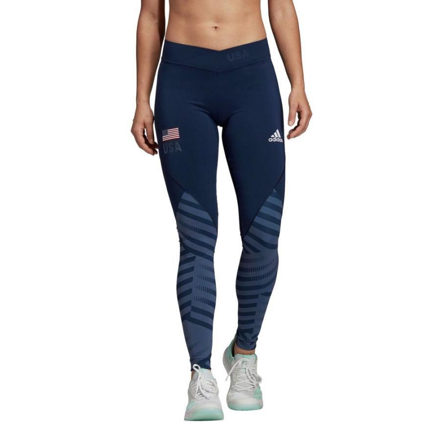 アディダス adidas レディース バレーボール スパッツ・レギンス ボトムス・パンツ alphaskin usa volleyball long tights Collg Nvy/Mnrl 青/白い