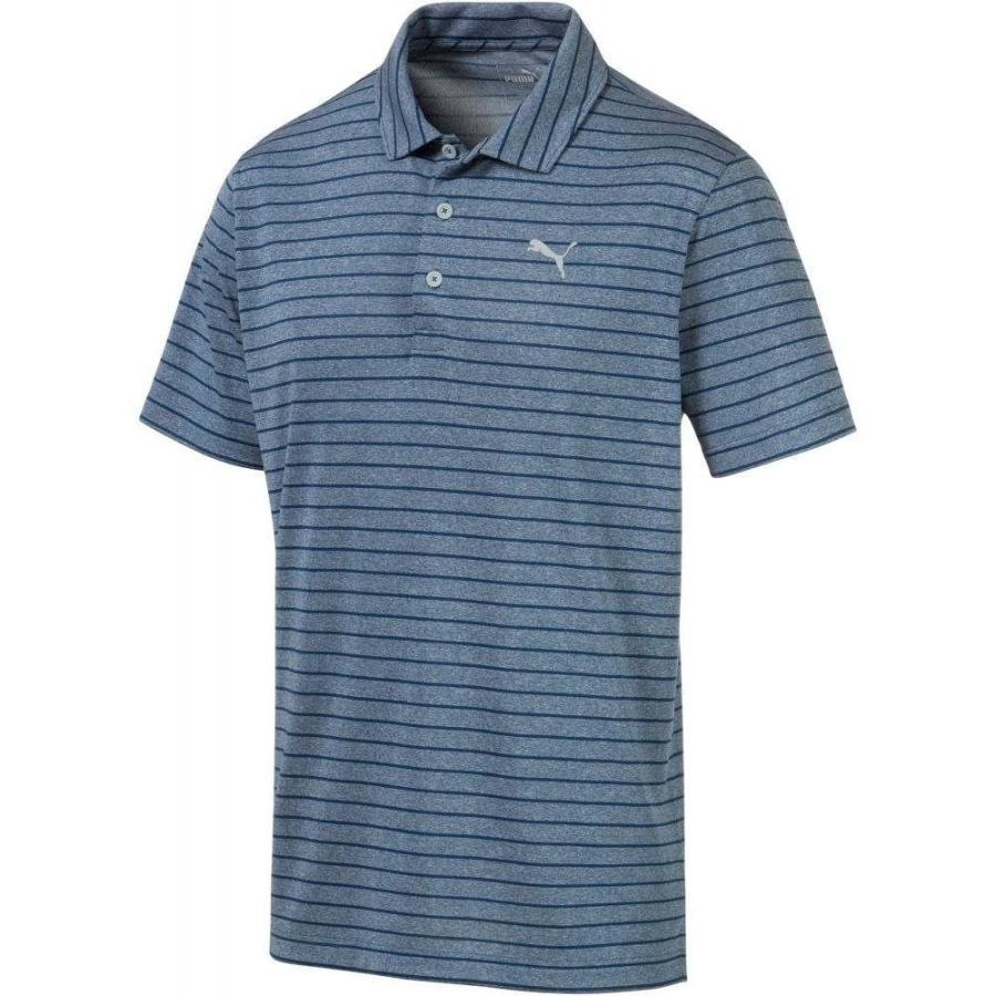 プーマ PUMA メンズ ゴルフ ポロシャツ トップス rotation stripe golf polo Gibraltar Sea