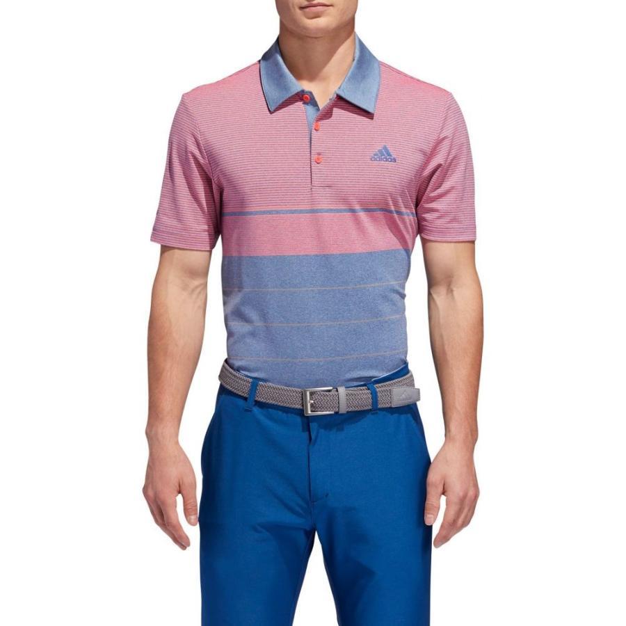 アディダス adidas メンズ ゴルフ ポロシャツ トップス ultimate365 heather gradient stripe golf polo Drk Marine Htr/グレー