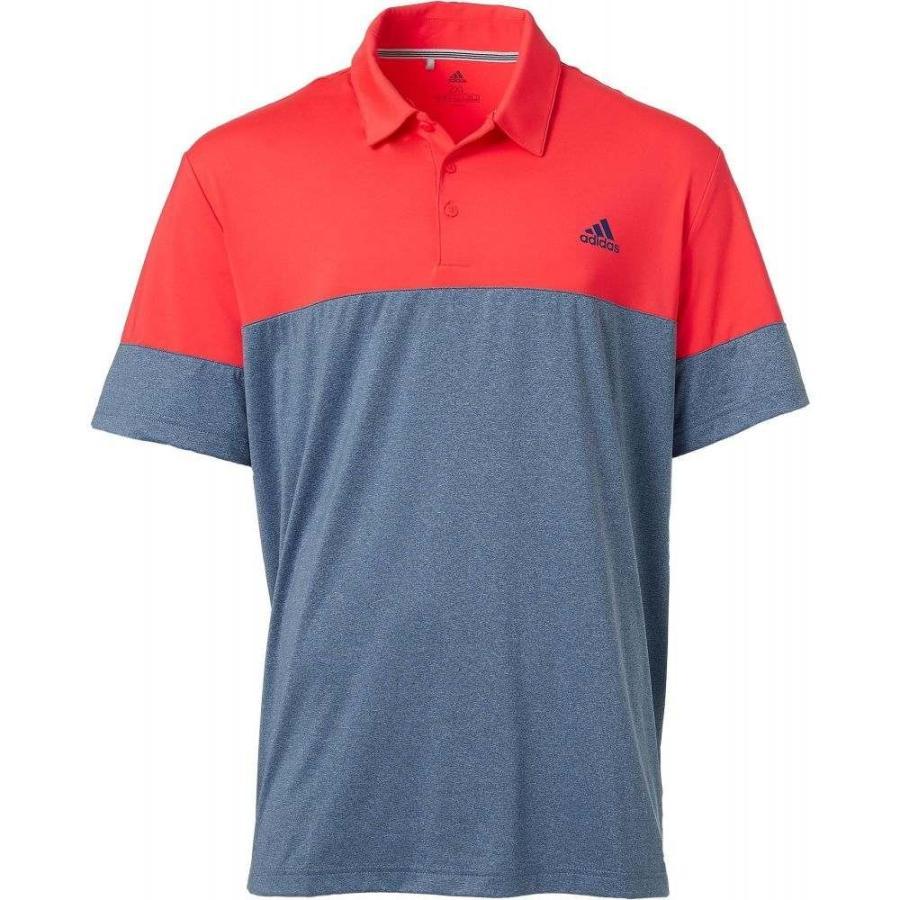 アディダス adidas メンズ ゴルフ ポロシャツ トップス ultimate365 heather block golf polo Shock 赤/Dark Marine