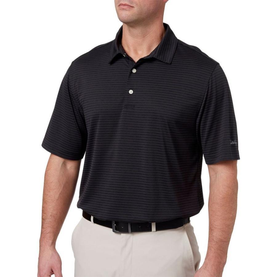 ウォルターヘーゲン Walter Hagen メンズ ゴルフ ポロシャツ トップス essential texture stripe golf polo 黒