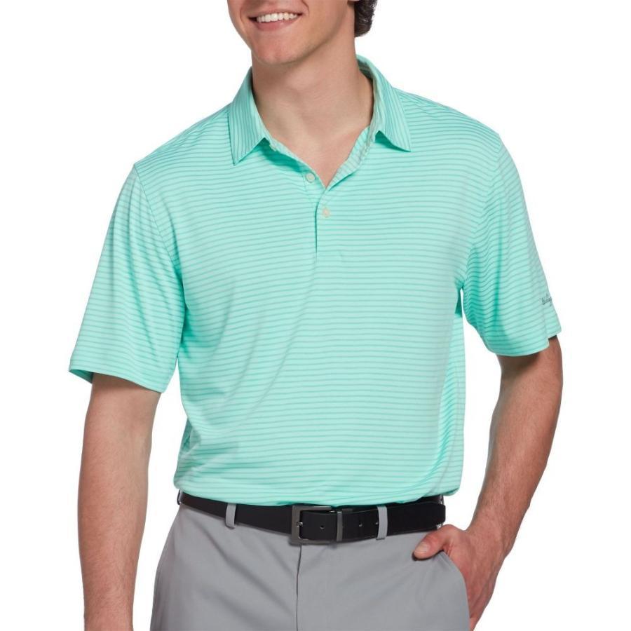 ウォルターヘーゲン Walter Hagen メンズ ゴルフ ポロシャツ トップス essential texture stripe golf polo Ice 緑