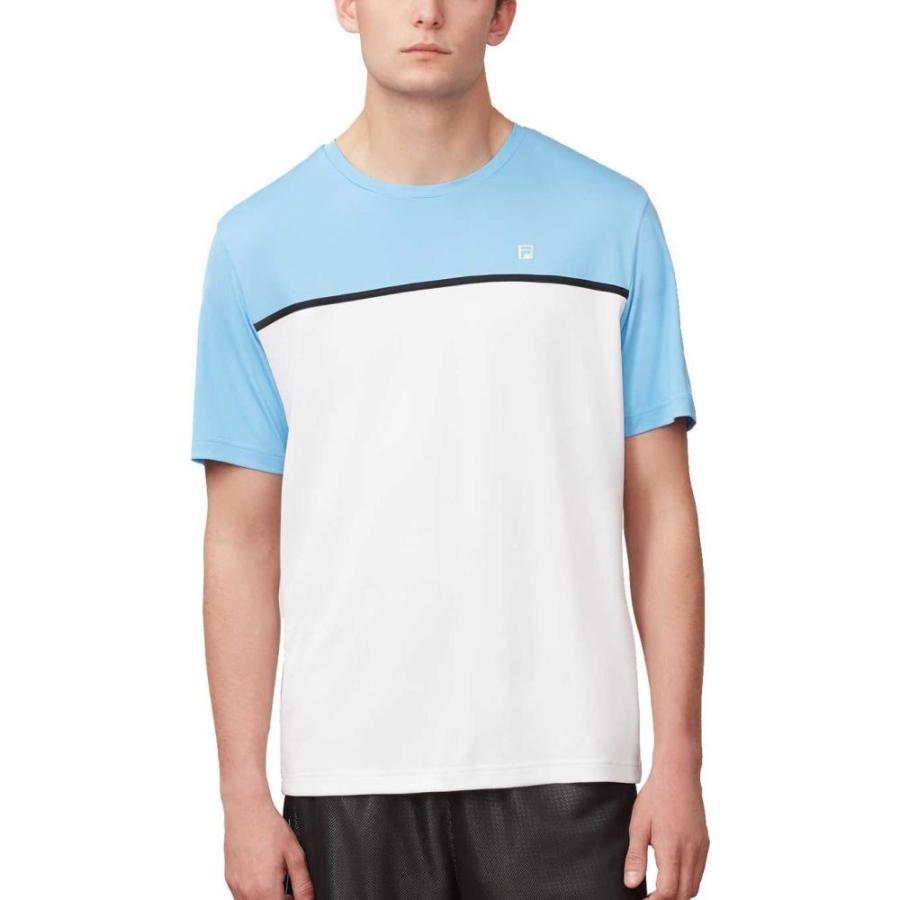 フィラ Fila メンズ テニス トップス set point colorblocked crew neck tennis shirt 白い/Light 青