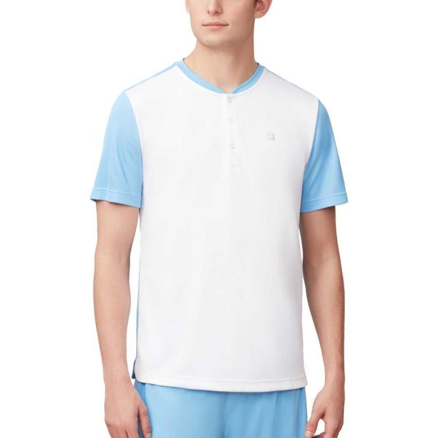 フィラ Fila メンズ テニス ヘンリーシャツ トップス set point henley tennis shirt 白い/Light 青