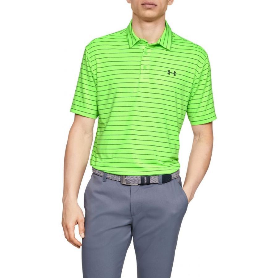 アンダーアーマー Under Armour メンズ ゴルフ ポロシャツ トップス playoff 2.0 tour stripe golf polo Lime Light/Pitch Gray