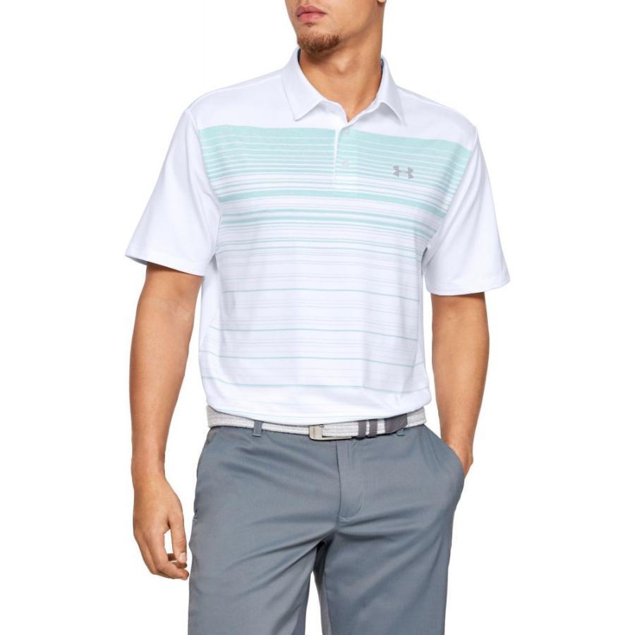 アンダーアーマー Under Armour メンズ ゴルフ ポロシャツ トップス playoff 2.0 daybreak stripe golf polo 白い/Neo Turquoise