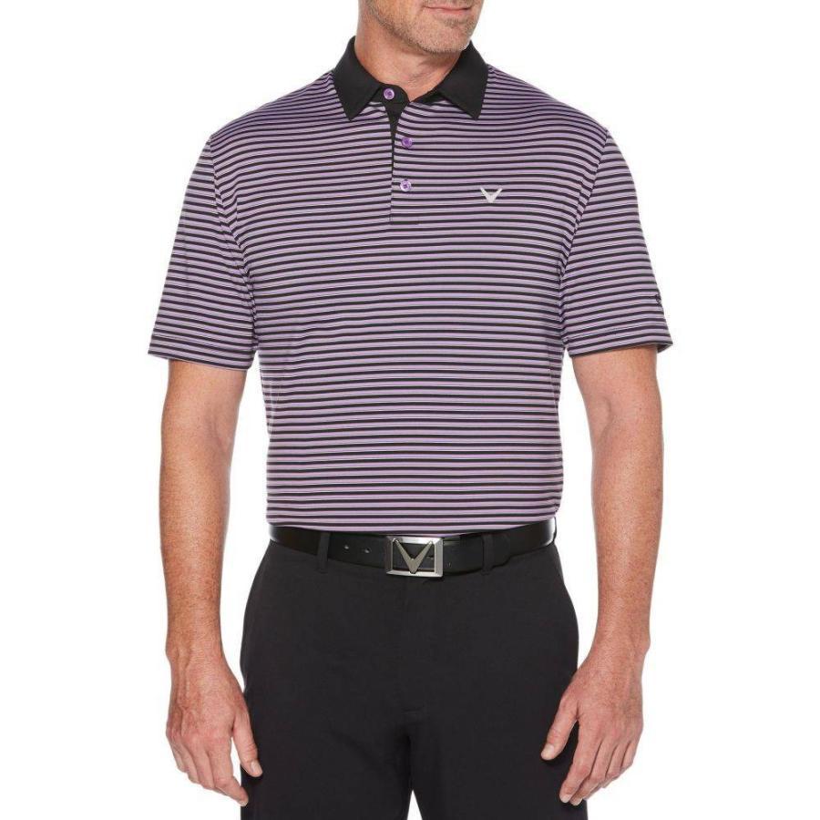 キャロウェイ Callaway メンズ ゴルフ ポロシャツ トップス refined 3 color stripe golf polo Fairy Wren