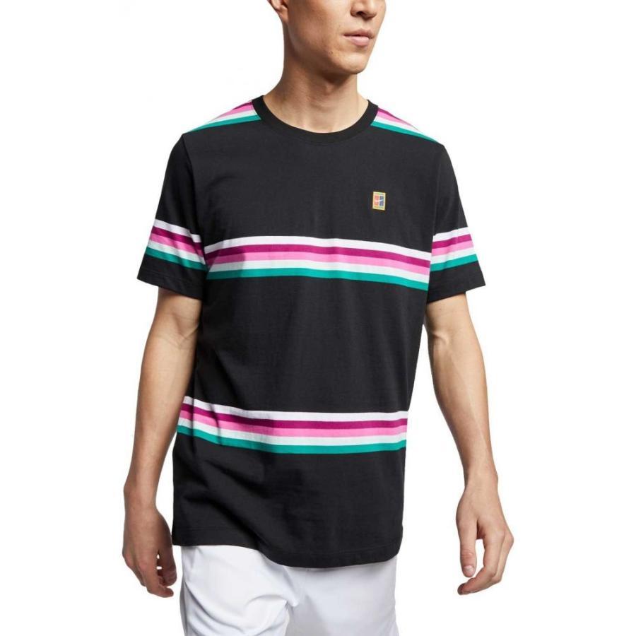 ナイキ Nike メンズ テニス トップス nikecourt striped tennis shirt 黒