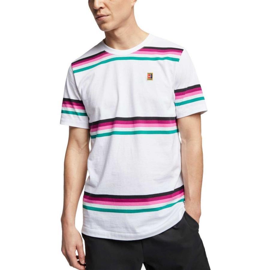 ナイキ Nike メンズ テニス トップス nikecourt striped tennis shirt 白い
