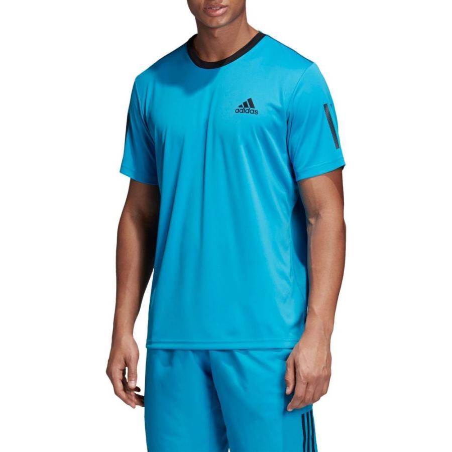 アディダス adidas メンズ テニス Tシャツ トップス club 3-stripe tennis t-shirt Shock Cyan/黒
