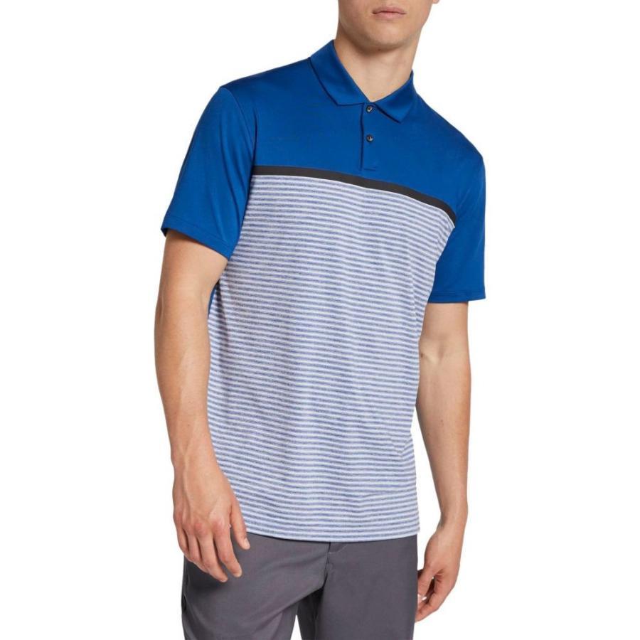 ナイキ Nike メンズ ゴルフ ポロシャツ トップス tiger woods striped block golf polo Gym 青