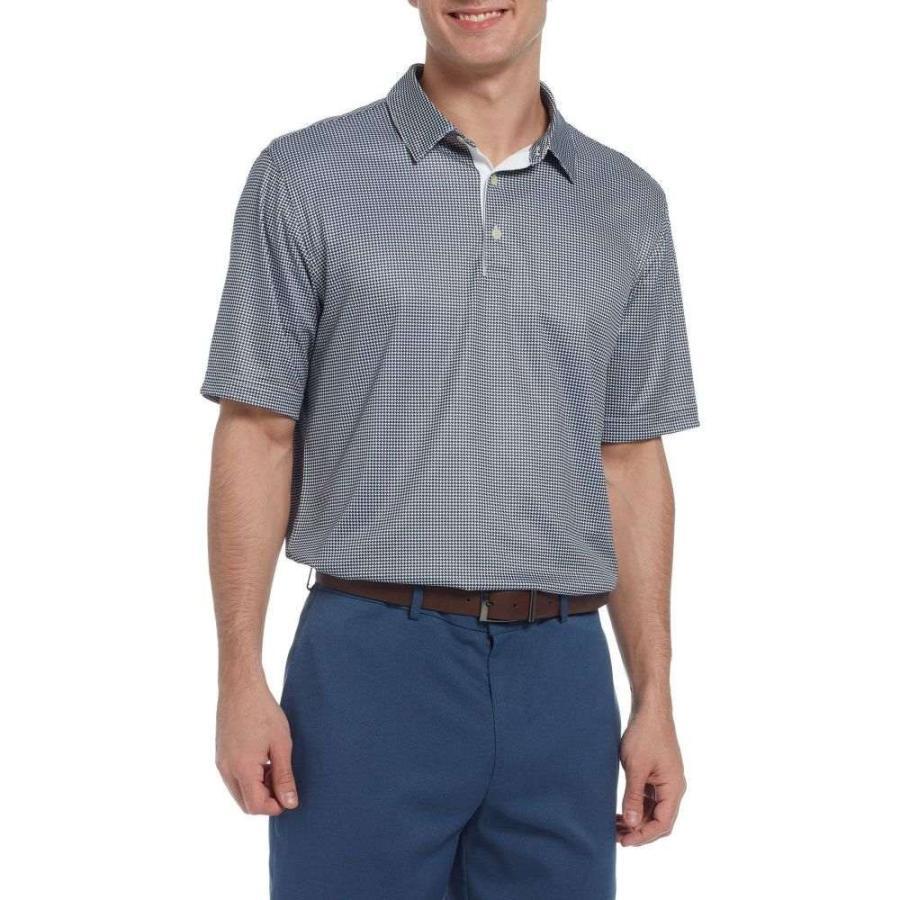 ウォルターヘーゲン Walter Hagen メンズ ゴルフ ポロシャツ トップス essentials houndstooth printed golf polo Navy