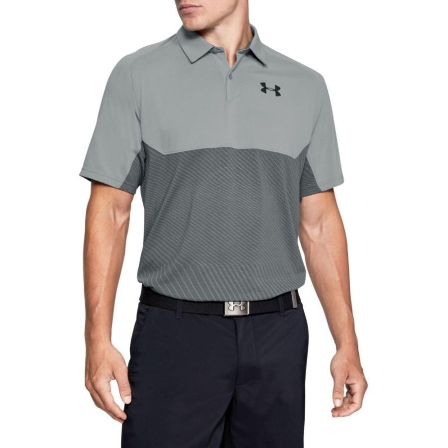 アンダーアーマー Under Armour メンズ ゴルフ ポロシャツ トップス tour tips blocked golf polo Steel/Pitch Gray/Black