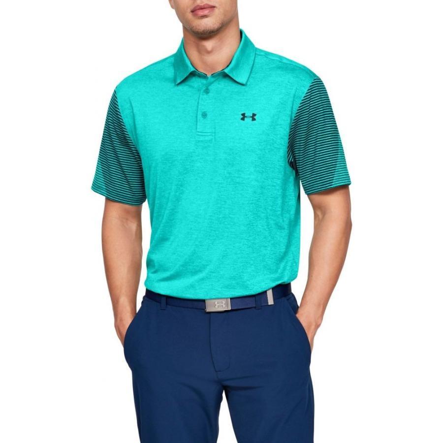 アンダーアーマー Under Armour メンズ ゴルフ ポロシャツ トップス playoff 2.0 striped sleeve golf polo Teal Rush/Tandem Teal