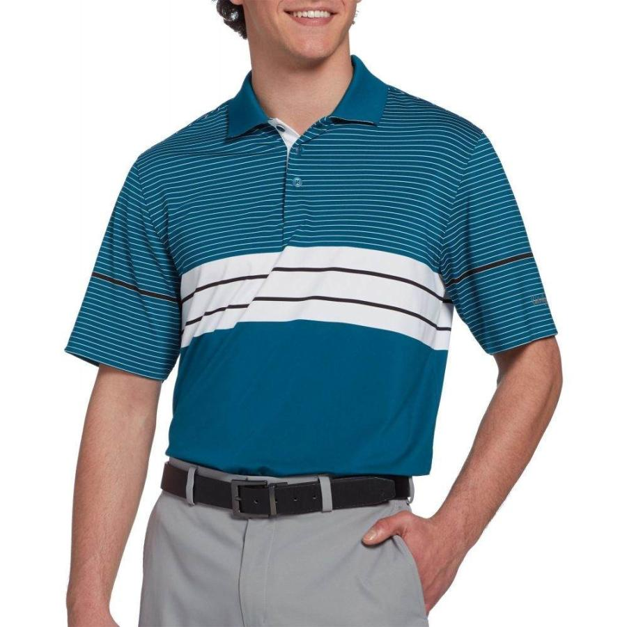 ウォルターヘーゲン Walter Hagen メンズ ゴルフ ポロシャツ トップス 11 majors engineered chest stripe golf polo Teal