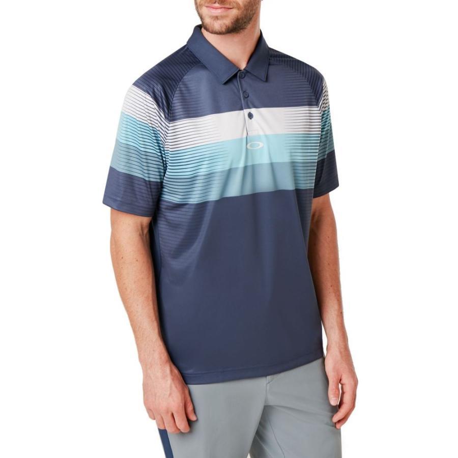 オークリー Oakley メンズ ゴルフ ポロシャツ トップス color block graphic golf polo Foggy 青