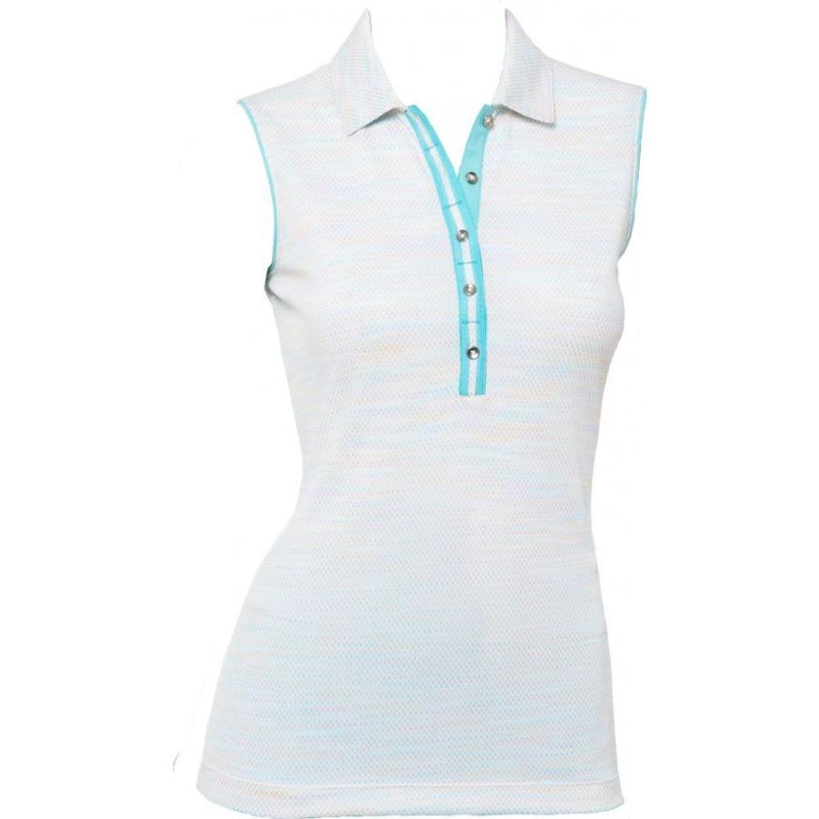 アンマーショップ EPNY レディース ゴルフ ノースリーブ ポロシャツ トップス EP Pro Novelty Space Dye Sleeveless Golf Polo White Multi, スポンジクッションのソフトプレン 2de485cd