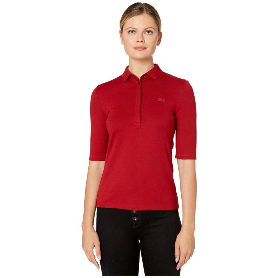 ラコステ Lacoste レディース ポロシャツ トップス 1/2 sleeve slim fit stretch pique polo Alizarin