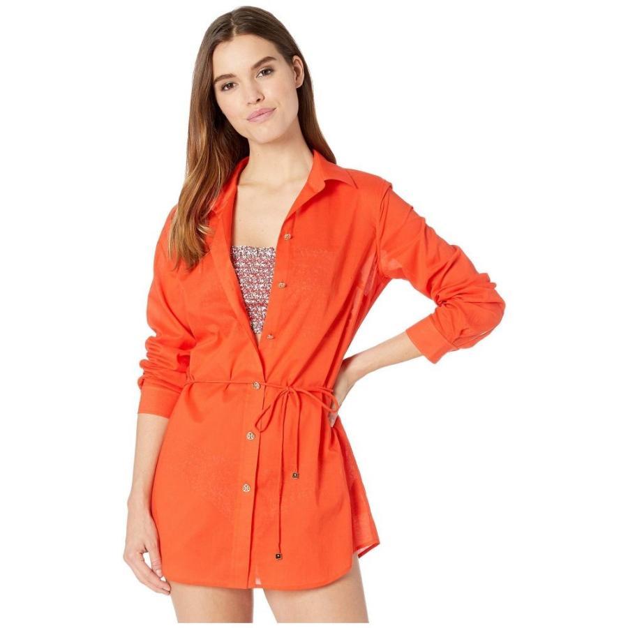 トリー バーチ Tory Burch Swimwear レディース ビーチウェア 水着・ビーチウェア Brigitte Beach Tunic Cover-Up Poppy 赤